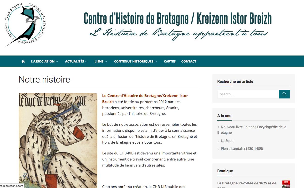 Réalisation du site du Centre d'Histoire de Bretagne / Kreizenn Istor Breizh (2017)